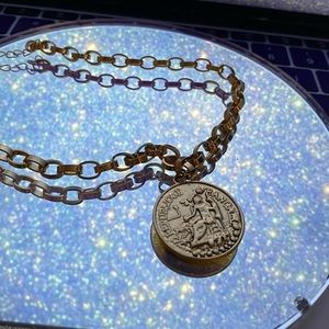Gold Faux Coin Chain Choker/Necklace